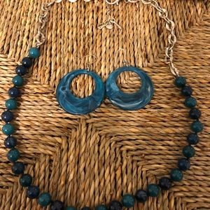 Turquoise Fossil Necklace with Bonus Earrings